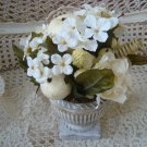 SET OF 2 PRETTY POTS FILLED WITH ROSES, FLOWERS, AND FRUIT DECORATOR PIECE