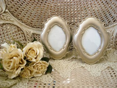 SHABBY FRENCH ORNATE SET OF 2 SILVER SCROLLS PICTURE FRAMES ****ELEGANT CHIC***