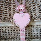 CANDY CANE HEART HAND PAINTED SHABBY ROSES WOODEN ORNAMENT *SO PRETTY*