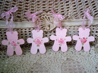FOUR GORGEOUS HAND PAINTED SHABBY ROSES TEDDY BEAR WOODEN ORNAMENTS *SO PRETTY*