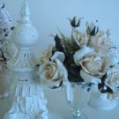 SHABBY GORGEOUS REPRODUCTION AGED MERCURY GLASS GLITTER COMPOTE VASE