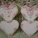 TWO GORGEOUS HAND PAINTED SHABBY ROSES DOUBLE HEART WOODEN ORNAMENTS *SO PRETTY*
