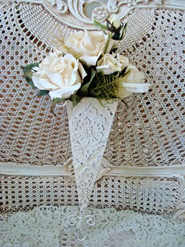 SHABBY FRENCH ORNATE TIN FLOWER CONE WALL HANGING **SIMPLY CHIC**