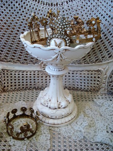 SHABBY VINTAGE ORNATE FRENCH STYLE LARGE COMPOTE BOWL GARLANDS **SO PRETTY**