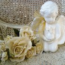 "FABULOUS 11"" TALL LARGE CERAMIC CHERUB ANGEL STATUE WITH BUNNY RABBIT *SO CUTE*"