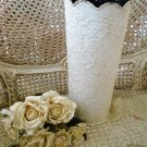 SHABBY FRENCH ORNATE CHIC X-LARGE PAINTED METAL TIN VASE PLANTER ***SO PRETTY***