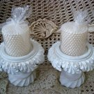 PAIR OF PRETTY SHABBY URN CRACKLE PAINT CANDLE HOLDERS ***UNIQUE***