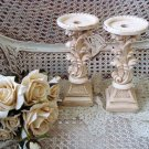 """TWO SHABBY ORNATE 9 3/4"""" TALL FRENCH STYLE PAINTED CANDLE HOLDERS **SO PRETTY**"""