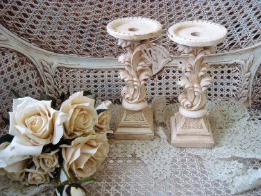 "TWO SHABBY ORNATE 9 3/4"" TALL FRENCH STYLE PAINTED CANDLE HOLDERS **SO PRETTY**"