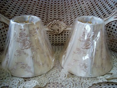 SET OF TWO PRETTY ROSES LAMP SHADES ***SO PRETTY***