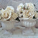 AWESOME SET OF 2 SHABBY URNS