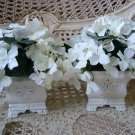 PAIR OF BEAUTIFUL FAUX FLOWERS IN SHABBY POTS ****BEAUTIFUL*****