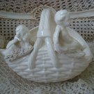 Beautiful Vintage Ceramic Large Basket with 2 Cherubs Angels on the Front