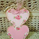 PRETTY HAND PAINTED SHABBY ROSES DOUBLE HEART WOODEN ORNAMENT *SO PRETTY*