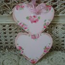 FABULOUS HAND PAINTED SHABBY ROSES DOUBLE HEART WOODEN ORNAMENT *SO PRETTY*