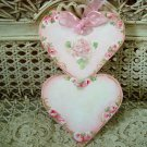 EXQUISITE HAND PAINTED SHABBY ROSES DOUBLE HEART WOODEN ORNAMENT *SO PRETTY*