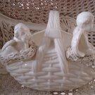 Beautiful Vintage Ceramic Large Basket WITH TWO CHERUBS **UNIQUE**