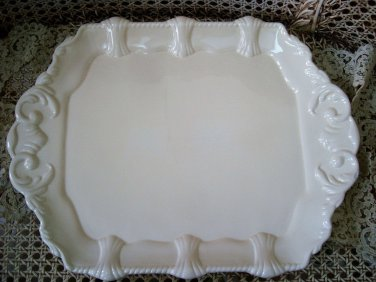 TRACEY PORTER LARGE IVORY ORNATE CERAMIC SERVING TRAY ***ELEGANT****
