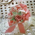 PRETTY ROUND OPALESCENT GLASS BALL ORNAMENT WITH ROSES & BOW ***SO CHIC***