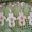 FOUR ADORABLE HAND PAINTED SHABBY ROSES TEDDY BEAR WOODEN ORNAMENTS WITH GEMS