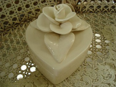 Exquisite Shabby Vintage Heart Jewelry Box With Beautiful Rose on Top
