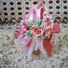 PRETTY OPALESCENT GLASS BELL ORNAMENT WITH ROSES & BOW ***SO CHIC***