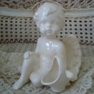 Beautiful Vintage Ceramic Angel Cherub Figurine With Basket