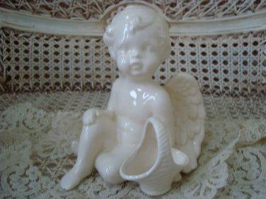 Beautiful Vintage Ceramic Angel Cherub Figurine With Basket