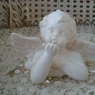 Beautiful White Vintage Angel Cherub Figurine Blowing Kiss **SO CUTE**