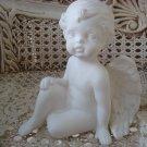 Beautiful White Vintage Angel Cherub Figurine Sitting **SO CUTE**