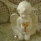 Beautiful Vintage Ceramic Angel Cherub Figurine Holding Present Gift