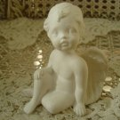 Beautiful Miniature White Vintage Angel Cherub Figurine Sitting