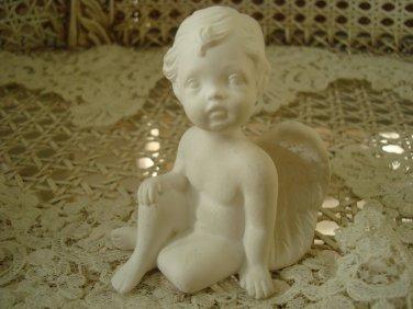 Beautiful Miniature White Vintage Angel Cherub Figurine Sitting