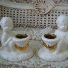 CUTE Vintage Ceramic Angel Cherub CANDLEHOLDERS