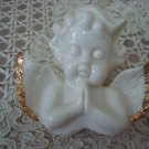 Beautiful Vintage Ceramic Angel Cherub PRAYING SMALL TRINKET BOX  **SO CUTE**