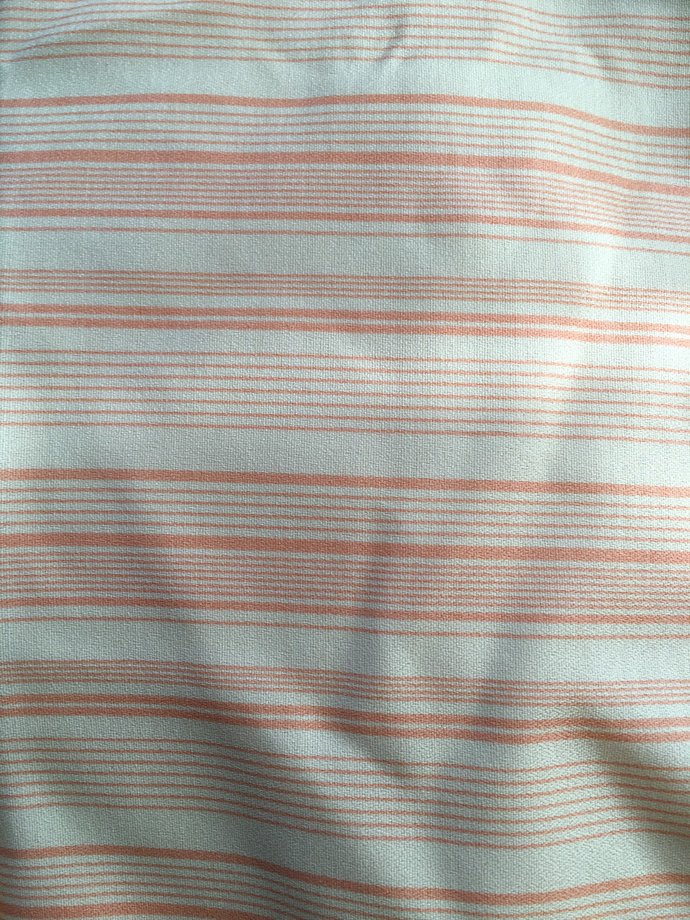 """45"""" wide 3 yards 7"""" Peach and Ivory Stripe Fabric"""