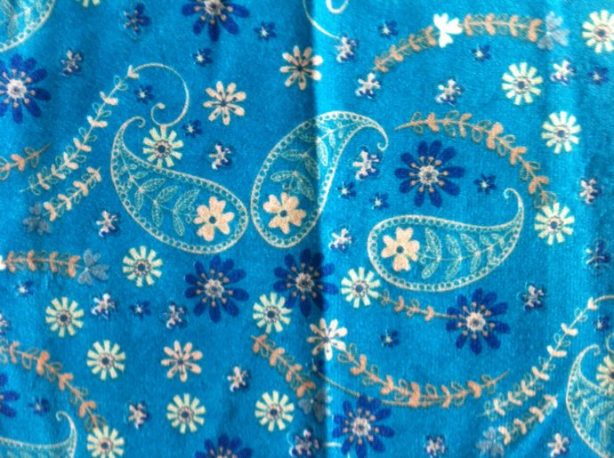 """62"""" wide 2 yards Teal with Gold and Navy Blue"""