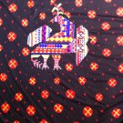 """64"""" wide 2 yards 9"""" Deep Chocolate Brown with Orange and Yellow Flowers and Rooster"""