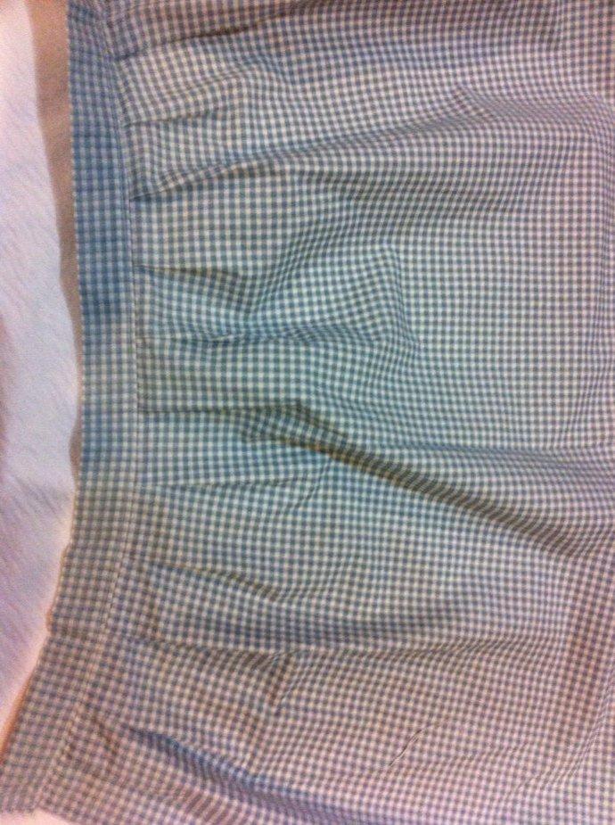 "39"" x 17 3/4"" Blue Check Pleated Cotton Valance"