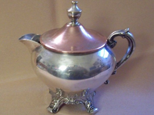 Shabby Chic Silverplated Creamer and Sugar