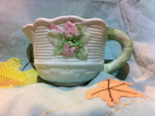 Charming White Creamer with Pink Flowers and A Green Handle