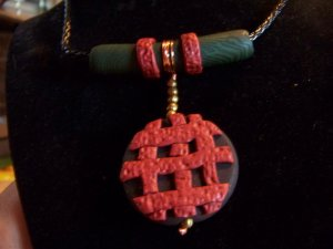 Malachite and agate clay necklace