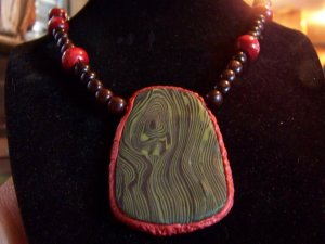 Agate and malachite lg necklace