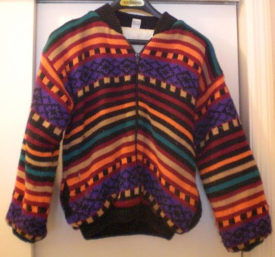 Woman's (M) Knit Outer Heavy Lined Jacket Rainbow Colors, Zippered/Nds MINOR Repair