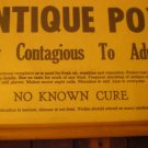 "WARNING! ""ANTIQUE POX"" Vintage Framed Sign Notice, FUNNY, except those who've contracted It!"