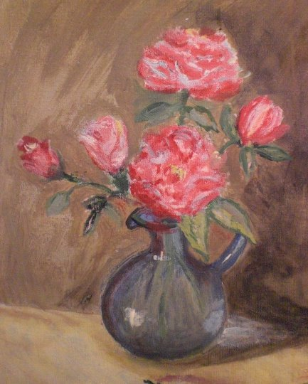 "Original Artwork ""Roses in Blue Vase"" Painting Oil on Canvas by Rose Spiers, 1981"