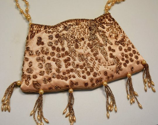Vintage Beaded Evening Purse with Tassles, Zipper Closure and Short Beaded Shoulder / Hand  Strap