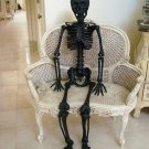 GRANDIN ROAD RARE 5 FOOT HALLOWEEN BLACK GLITTER LIFE SIZE SKELETON  ***AS IS***