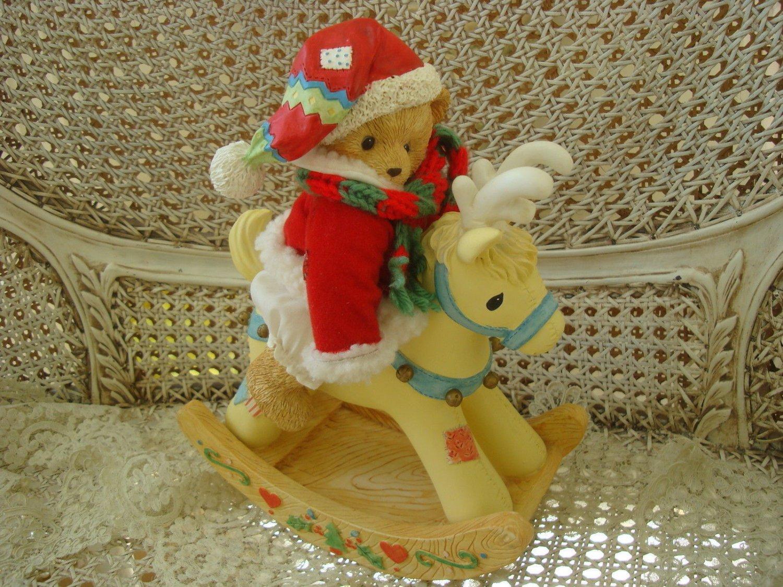 CHERISHED TEDDIES MUSICAL CHRISTMAS SANTA BEAR ON REINDEER RETIRED **NEW**