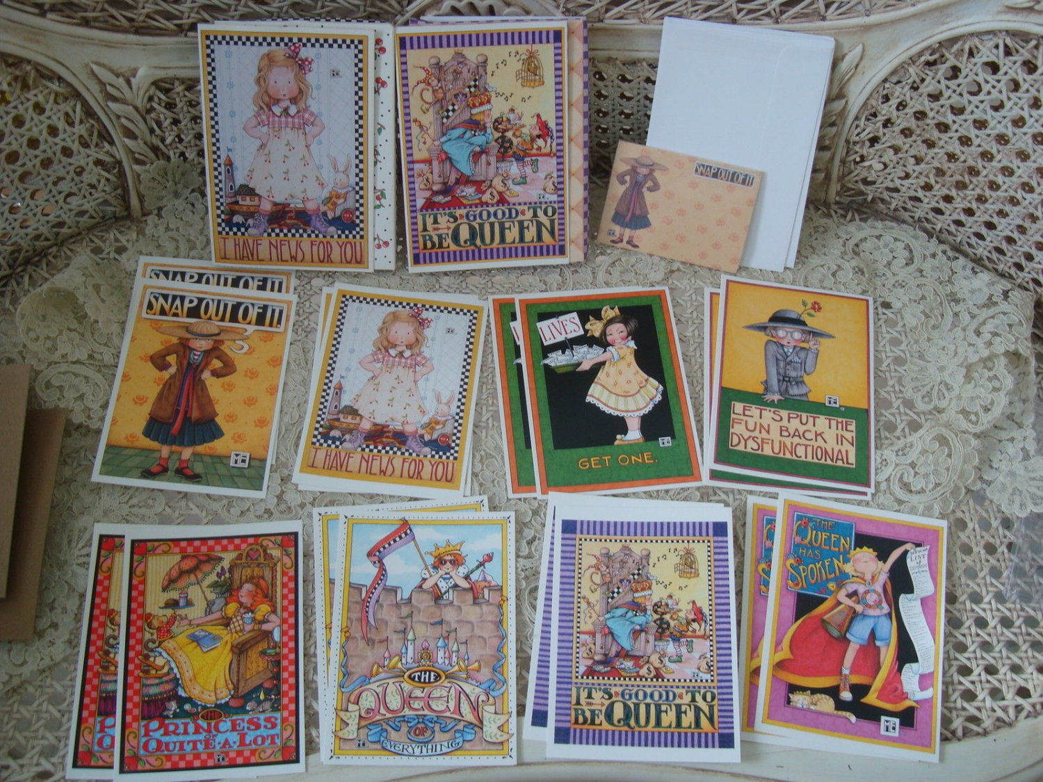 MARY ENGELBREIT 16 WHIMSICAL CARDS & ENVELOPES PLUS SNAP OUT OF IT POST IT NOTES
